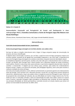 Abstracts - Resumos - Sektion 13 Lusitanistentag 2013