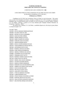 Candidatos inscritos pela cota - Diretoria de Ensino da Marinha
