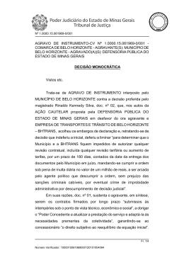 AGRAVO DE INSTRUMENTO-CV Nº 1.0000.15.061969-0