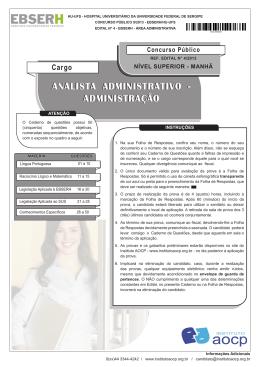 ANALISTA ADMINISTRATIVO - ADMINISTRAÇÃO