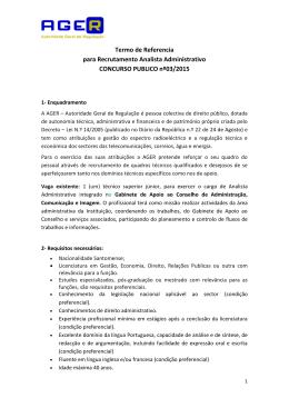 Termo de Referencia para Recrutamento Analista Administrativo
