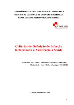 Critérios de Definição de Infecção Relacionada á Assistência á Saúde