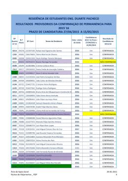 RDP Confirmação de Permanência Resultados Provisórios 2015`16