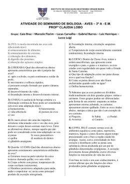 ATIVIDADE DO SEMINÁRIO DE BIOLOGIA - AVES – 3º A