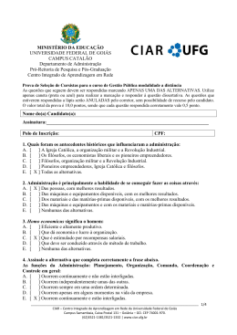 Prova e Gabarito do Processo Seletivo - EADmin - CIAR