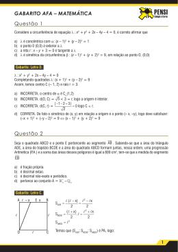 GABARITO AFA – MATEMÁTICA Questão 1 Questão 2