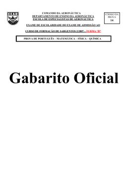 Gabarito Oficial - CFS-B 2/2007 - Cod. 14