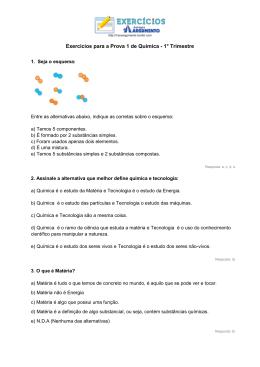 Exercícios para a Prova 1 de Química - 1° Trimestre