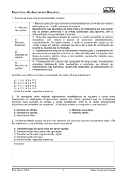 Exercícios Selecionados Concurso CEF