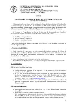 Edital Mestrado 2010 - Conselho Regional de Serviço Social 12ª