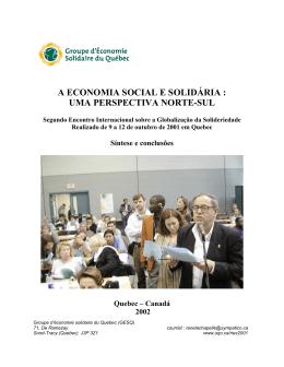 a economia social e solidária : uma perspectiva norte