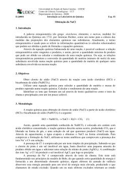 Obtenção do NaCl 1. Introdução A palavra estequiometria