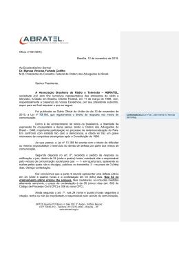 Ofício nº 091/2015 Brasília, 12 de novembro de 2015. Ao