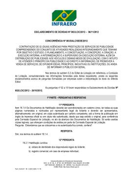 ESCLARECIMENTO DE DÚVIDAS Nº 003/LCIC/2012 – 06