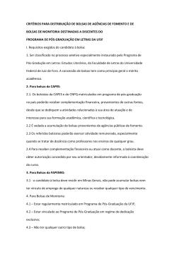 CRITÉRIOS PARA DISTRIBUIÇÃO DE BOLSAS DE