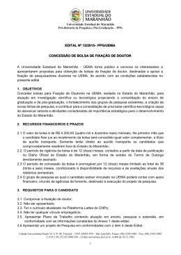 EDITAL Nº 12/2015– PPG/UEMA CONCESSÃO DE BOLSA DE