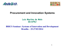 Procurement and Innovation Systems (Luiz Martins de Melo)