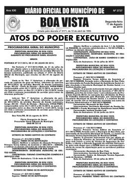 dom nº 3737.indd - Prefeitura Municipal de Boa Vista