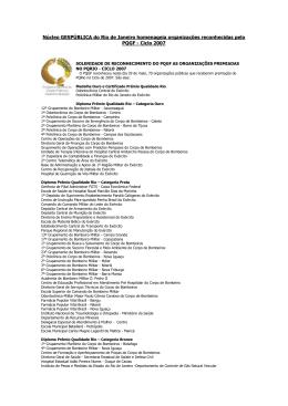 Organizações reconhecidas pelo PQGF