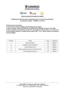 Lista retificada de alunos do 2º Edital