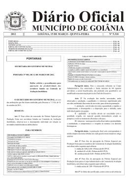 Diário Oficial MUNICÍPIO DE GOIÂNIA