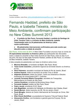 Fernando Haddad, prefeito de São Paulo, e Izabella Teixeira