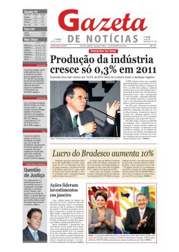 Produção da indústria cresce só 0,3% em 2011
