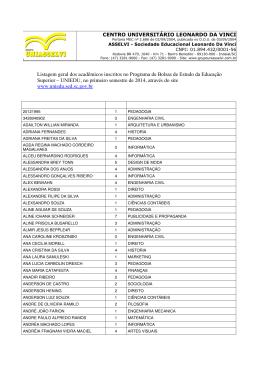 Indaial - Listagem geral de inscritos UNIEDU