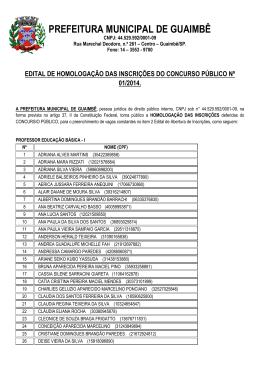 Homologacao das Inscricoes 29/01/2014