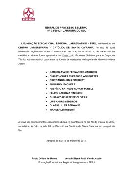edital de processo seletivo nº 38/2012 – jaraguá do sul
