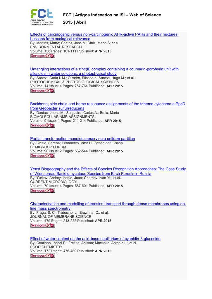 FCT | Artigos indexados na ISI – Web of Science 2015 | Abril