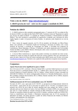 Visite o site da ABrES - http://abresbrasil.org.br/ A ABrES precisa de