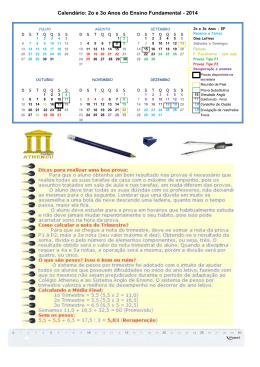 Calendário do 2º e 3º Anos do Ensino Fundamental
