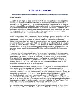 A Educação no Brasil - Departamento Cultural
