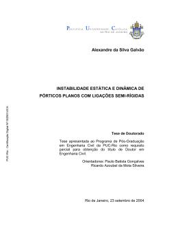 Alexandre da Silva Galvão INSTABILIDADE ESTÁTICA E