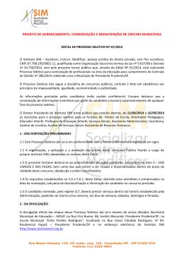 Edital de Processo Seletivo nº 01/2014 – Presidente