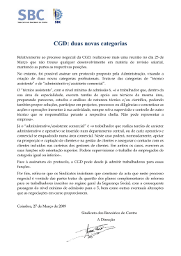 CGD: duas novas categorias - Sindicato dos Bancários do Centro