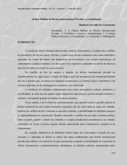 Ordem Pública no Direito Internacional Privado e a