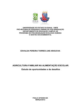 AGRICULTURA FAMILIAR NA ALIMENTAÇÃO ESCOLAR