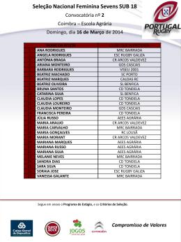 Convocatória nº 2, - Seleção Nacional Feminina de Sevens SUB 18