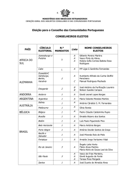 lista dos conselheiros eleitos - Portal das Comunidades Portuguesas