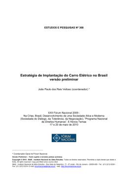 Estratégia de Implantação do Carro Elétrico no Brasil versão