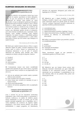 OLIMPÍADA BRASILEIRA DE BIOLOGIA