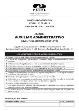 Prova Objetiva - Cargo de AUXILIAR ADMINISTRATIVO