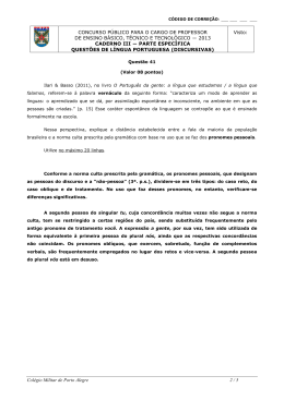 gabarito caderno iii port - Colégio Militar de Porto Alegre