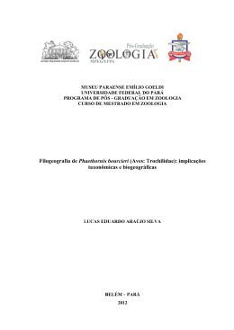 (Aves: Trochilidae): implicações taxonômicas e biogeográficas