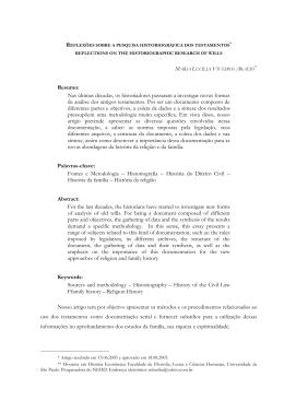 reflexões sobre a pesquisa historiográfica dos testamentos