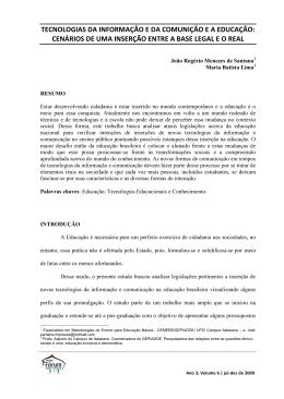 TECNOLOGIAS DA INFORMAÇÃO E DA COMUNIÇÃO E A EDUCAÇÃO: CENÁRIOS DE
