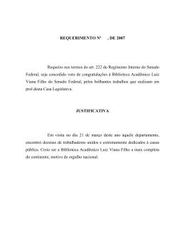REQUERIMENTO Nº , DE 2007