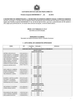 resultado final - SERES - Governo do Estado de Pernambuco